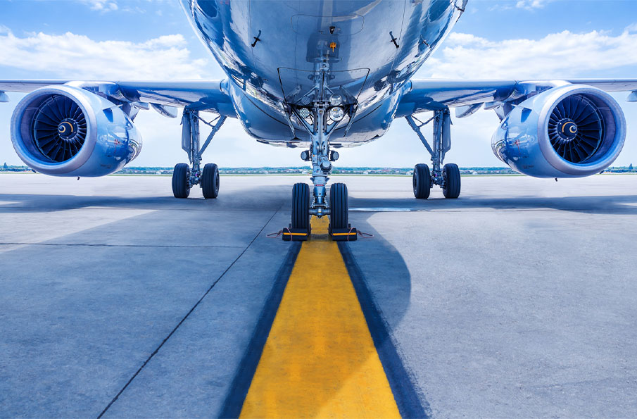 Aircraft on a taxiway.